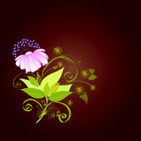 Background - composition with a flower. Flower in composition with leaves, curls and additional elements Royalty Free Stock Photos