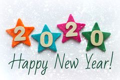 2020 background .The concept of the new 2020. New year with colorful numbers 2020 on white background. Christmas card, congratulat. Ions. Copy space stock photos