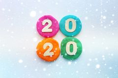 2020 background .The concept of the new 2020. New year with colorful numbers 2020 on white background. Christmas card, congratulat. Ions. Copy space royalty free stock photos
