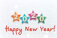 2020 background .The concept of the new 2020. New year with colorful numbers 2020 on white background. Christmas card, congratulat. Ions. Copy space stock photo