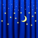Background conceptual image of blue curtain with stars of different sizes Royalty Free Stock Photo
