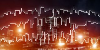 Background conceptual image of night illuminated town as symbol for active lifestyle. Modern night city scape glowing with lights and its drawn silhouette Stock Images