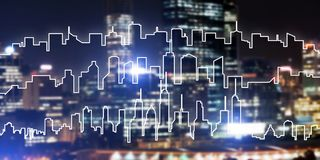 Background conceptual image of night illuminated town as symbol for active lifestyle. Modern night city scape glowing with lights and its drawn silhouette Royalty Free Stock Images