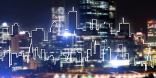 Background conceptual image of night illuminated town as symbol for active lifestyle. Modern night city scape glowing with lights and its drawn silhouette Royalty Free Stock Photography