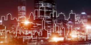 Background conceptual image of night illuminated town as symbol for active lifestyle. Modern night city scape glowing with lights and its drawn silhouette Stock Photography
