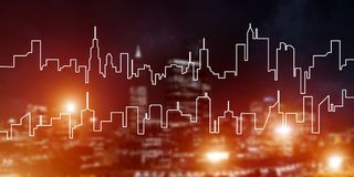 Background conceptual image of night illuminated town as symbol for active lifestyle. Modern night city scape glowing with lights and its drawn silhouette Stock Image