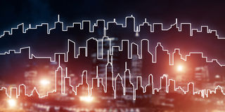 Background conceptual image of night illuminated town as symbol Stock Image