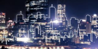 Background conceptual image of night illuminated town as symbol. Modern night city scape glowing with lights and its drawn silhouette Royalty Free Stock Photo