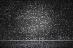 Chalkboard with formulas. Background conceptual image with science sketches on chalkboard vector illustration