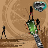 Background for concerts. Abstract colorful background with arrows, female silhouettes, loudspeakers and guitar head with tuners. Colored illustration for Stock Images