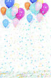 Background with confetti and balloons Royalty Free Stock Photo