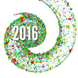 2016 background confetti flying in a spiral. Vector illustration Royalty Free Stock Image