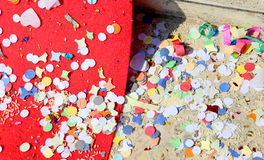 Background of confetti and streamers after the great party Royalty Free Stock Photo