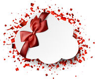 Background with confetti. White background with red confetti and bow. Vector illustration Stock Images
