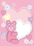 Background for congratulating on a bear and heart. Quilted birth announcement card for a girl Stock Images