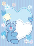 Background for congratulating on a bear and heart. Quilted birth announcement card for a boy Royalty Free Stock Images