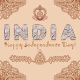 Background congratulation of India independence day with elements henna mehndi colors Royalty Free Stock Images