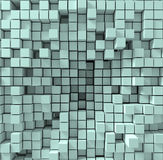 Background consisting of chaotically squeezed cubes, 3d render, 3d illustration. Light aquamarine Background consisting of chaotically squeezed cubes, 3d render Royalty Free Stock Photography