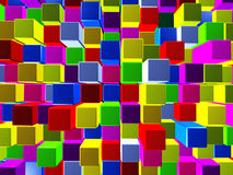 Background consisting of cubes. Abstract background made of colorful cubes in 3D Stock Illustration