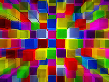 Background consisting of cubes. Abstract background made of colorful cubes in 3D Royalty Free Illustration