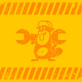 Background construction zone beaver holds wrench Royalty Free Stock Photo