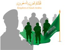 Background contains Saudi soldiers and the map of Saudi Arabia on the occasion of the National Day. Illustration of Saudi Arabia National Day 23 rd september Royalty Free Stock Image