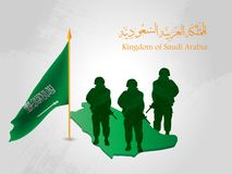 Background contains Saudi soldiers and the map of Saudi Arabia on the occasion of the National Day. Illustration of Saudi Arabia National Day 23 rd september Stock Photos