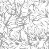 Background of contour gray flowers. Vintage texture for fabric, tile and paper decoration and wallpaper on the wall. royalty free illustration