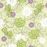 Background of contour spring flowers drawn in ink on a green background. Vintage texture for fabric, tile, wallpaper.  stock illustration