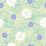 Background of contour spring flowers drawn in ink on a green background. Vintage texture for fabric, tile, wallpaper.  royalty free illustration