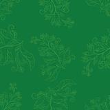 Background with contours flowers. Abstract green seamless floral background with contours flowers Royalty Free Illustration
