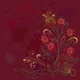 Background with contours flowers. Abstract floral background with red stain and coloured contours flowers Royalty Free Stock Photography