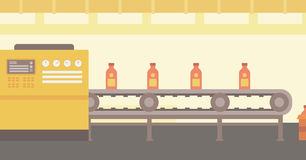 Background of conveyor belt with bottles. Stock Image