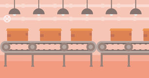 Background of conveyor belt with cardboard boxes. stock illustration