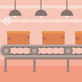 Background of conveyor belt with cardboard boxes. Royalty Free Stock Photo