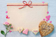 Background with cookies heart-shaped Stock Photo