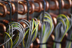 Background of copper wires pipes Royalty Free Stock Image