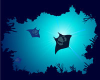 Background of a coral reef with manta ray vector illustration