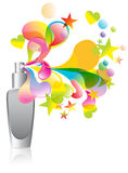Background with cosmetic bottle splash. Over white Royalty Free Stock Photos