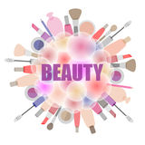 Background with cosmetics and beauty products. Background with cosmetics and beauty products, the emblem for beauty salons and stores Royalty Free Stock Photography