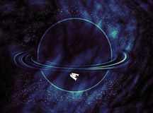Background of a cosmic landscape with a starry sky, a fictional planet, and a spaceship vector illustration