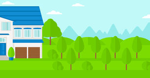 Background of cottage in forest. Royalty Free Stock Photography