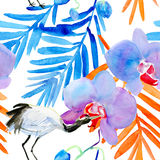 Background with crane and flowers royalty free illustration