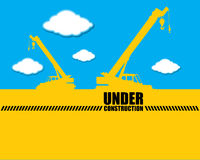 Background Crane with Under construction vector Stock Photos