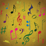 Background created from music notes. Illustration Stock Images