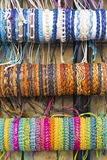 Background created from stacks of colorful bangles Stock Photos