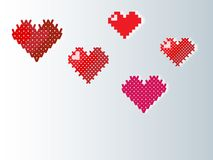 Knitted, pixel, embroidered, heart for the background. Background with crochet, pixel, embroidered, hearts, wedding, Valentine`s day, for the backgroundn Stock Photos