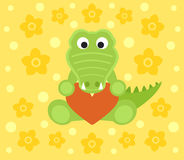 Background with crocodile cartoon Royalty Free Stock Image