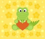 Background with crocodile cartoon Royalty Free Stock Image