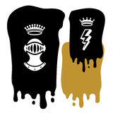 Background Crowns. Paint And Emblems With Helmet And Crown Stock Images
